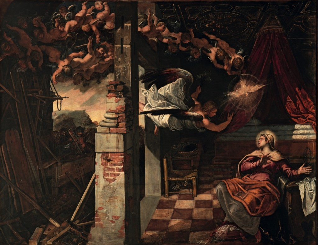 The Annunciation, oil on canvas (545×422 cm), 1582/87