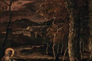 Come quella della cosiddetta Maria Maddalena, suo pendant, la figura della santa, che distolto lo sguardo dal libro, contempla assorta il paesaggio notturno davanti a sé, ne diviene parte integrante. In un'atmosfera immota, gli elementi naturali, dall'acqua del ruscello alle alture in lontananza, brillano nella luce lunare, in una condizione sospesa e quasi magica. Il vigore impetuoso che caratterizza tante delle opere dipinte da Tintoretto per la Scuola si trasforma ora in delicato lirismo.