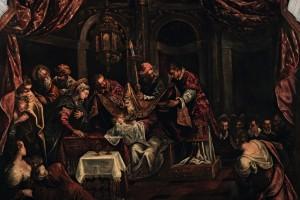 Inserita nell'attuale collocazione nell'agosto 1587, la Circoncisione è l'ultimo dipinto in ordine di tempo realizzato da Jacopo per la Sala Terrena. Il largo intervento della bottega, soprattutto del figlio Domenico, tende a spegnere il fascino dell'invenzione tintorettiana in forme manierate e convenzionalmente descrittive.