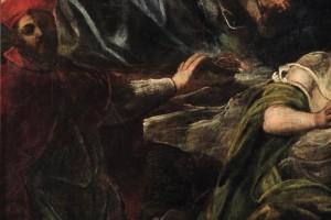 Apparizione particolare del Cardinale con impronta della croce sulla fronte.  Scuola Grande, Altare della Sala Superiore