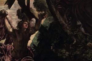 In questo telero un giovane e bellissimo demonio solleva verso di lui due grandi pietre perché le trasformi in pane. Di particolare rilievo è la scelta cromatica dell'insieme, in cui prevalgono le diverse tonalità di verde della vegetazione, ma soprattutto lo splendido rosa carico del manto e delle ali del demonio.