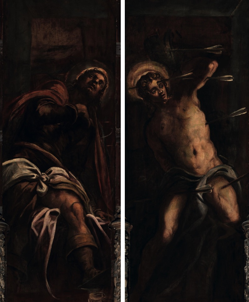 St. Roch and St. Sebastian, oil on canvas (80×250 cm, each), 1578/81