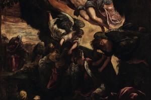 Tutta la composizione del dipinto, che, rappresentandone la Resurrezione, esalta la vittoria di Cristo sulla morte, è percorsa da un movimento impetuoso. Un fulgore luminoso sembra sollevare la pesante pietra del sepolcro, sorretta da quattro maestosi angeli. Sopra di essa il Salvatore, risorto e trionfante, è completamente circondato dalla luce soprannaturale. Nella parte inferiore della tela le guardie, immerse nell'ombra, sono terrorizzate e sopraffatte da tanto splendore, mentre sullo sfondo, nella serena luce naturale, avanzano due donne dirette al Sepolcro.