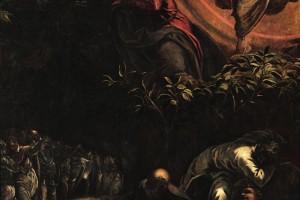 Questo telero rappresenta una delle più straordinarie e intense interpretazioni luministiche del pittore. La scena notturna riunisce gli elementi-chiave del racconto evangelico: nella parte superiore della composizione Cristo riceve dall'angelo, circondato da un alone di luce soprannaturale che si riflette sugli apostoli addormentati e sulla schiera dei soldati che avanzano, l'annuncio della prossima morte.