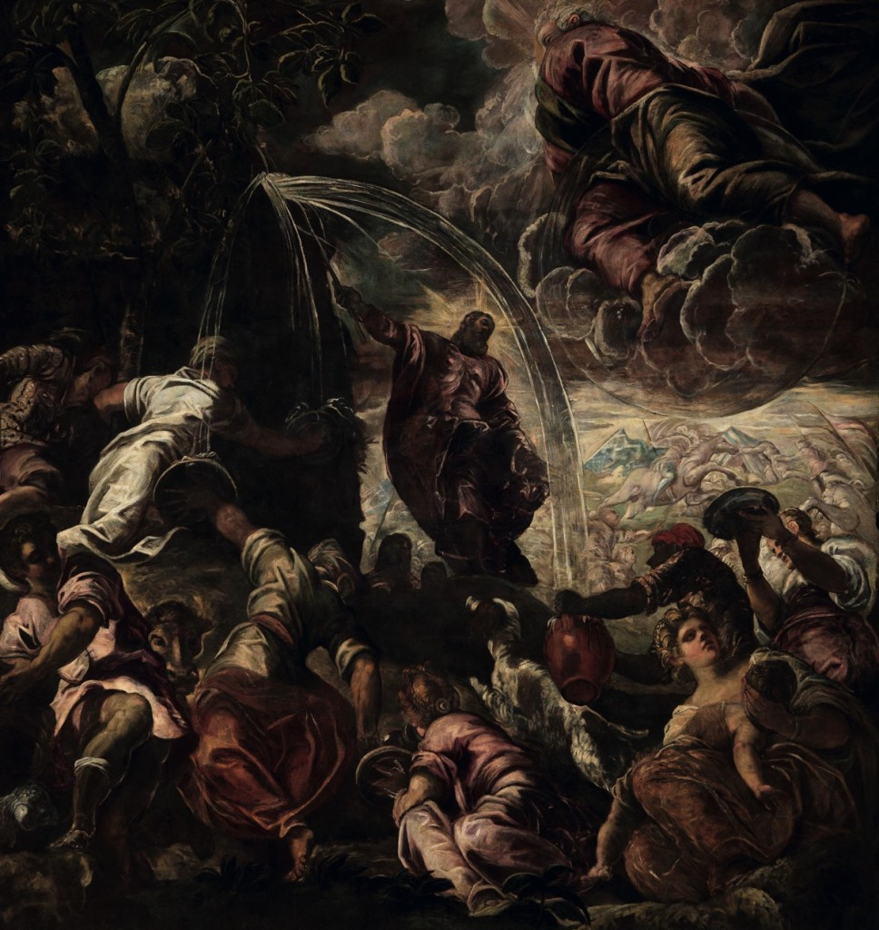 Moses Striking the Rock, oil on canvas (520×550 cm), 1577