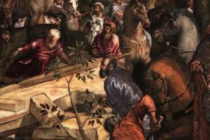 Particolare in cui Tintoretto si raffigura come un uomo barbuto, appoggiato al terrapieno di pietre sconnesse, bloccato in muta contemplazione