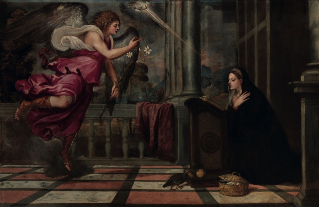 Titian, Annunciation, oil on canvas (166×266) 1535