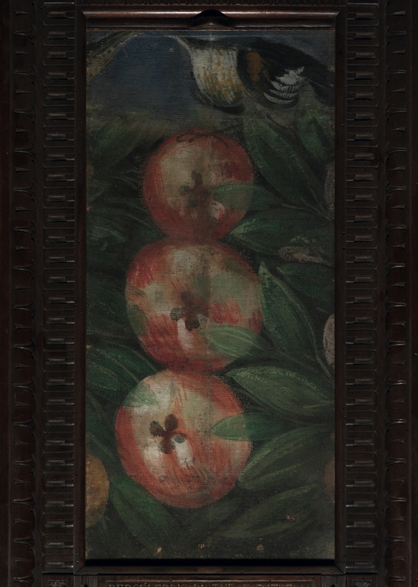 A fragment of the frieze showing three apples, oil on canvas (25×58 cm), 1564