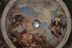 Giovanni Antonio Fumiani, La Carità con la fiaccola della Religione dinanzi ai poveri infermi presentati da san Rocco, affresco (512 cm di diametro), 1700