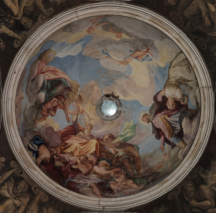 Giovanni Antonio Fumiani, Charity holding the flaming torch of Religion before the impoverished sick presented by St. Roch, fresco (512cm diameter), 1700